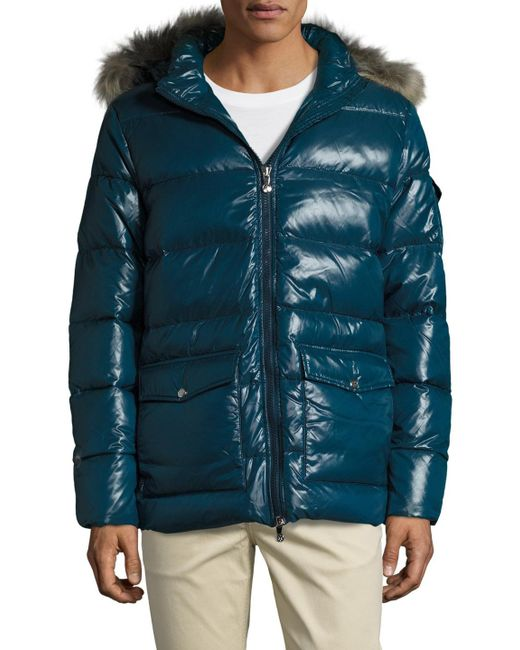Pyrenex | Blue Authentic Shiny Jacket With Fur for Men | Lyst
