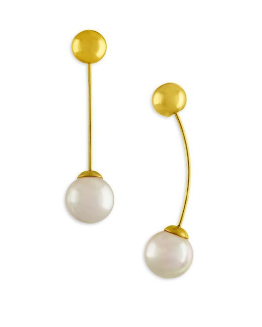 Majorica - 10mm White Organic Pearl Drop Earrings/goldtone - Lyst