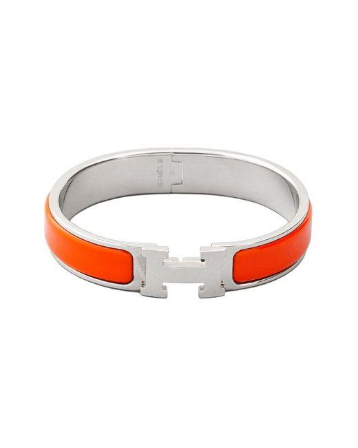Hermès Palladium Plated & Orange Enamel Clic-clac H Bracelet
