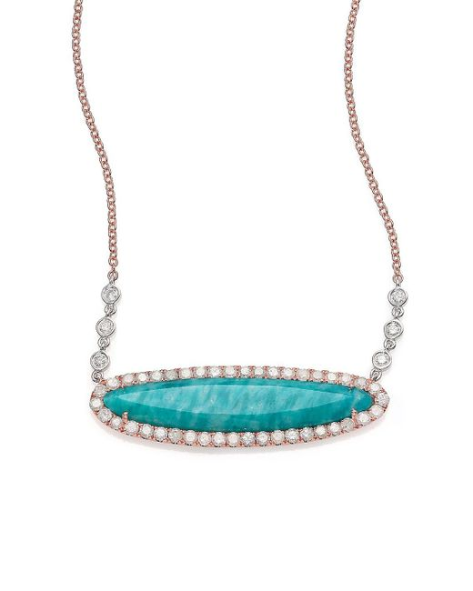 Meira T - Blue Amazonite, Diamond & 14k Rose Gold Pendant Necklace - Lyst