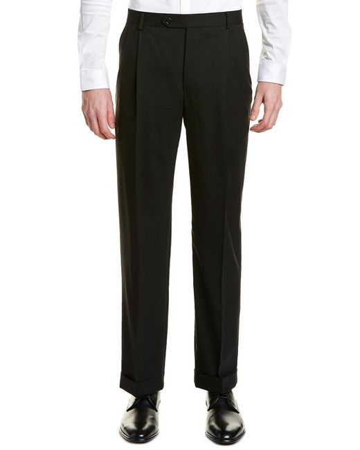 Brooks Brothers Black Madison Fit Pleated Wool Blend Trouser for men