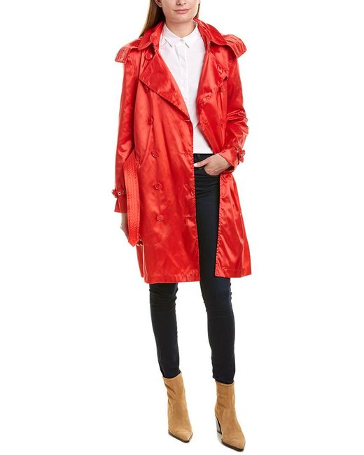 Burberry Red Kensington Hooded Nylon Trench Coat