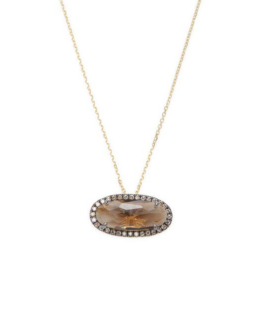 Suzanne Kalan - Metallic 0.15 Tcw Diamond & Smokey Quartz 14k Yellow Gold Oval Pendant Necklace - Lyst