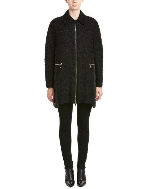 Moncler Black Cathy Wool-blend Down Coat