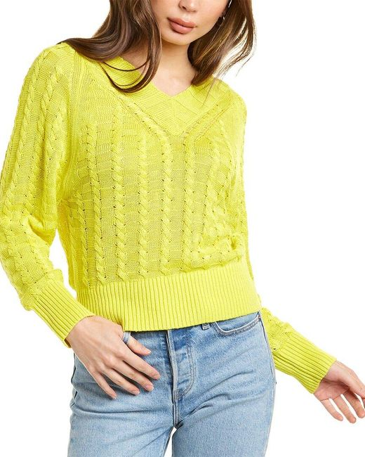 Theory Yellow V-neck Linen-blend Pullover