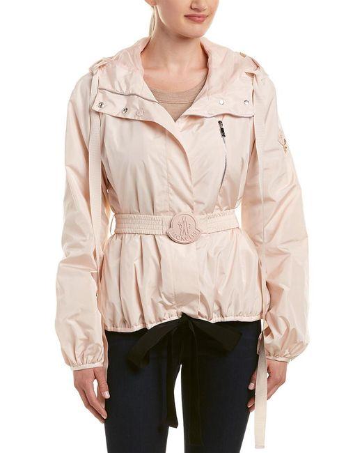 Moncler Pink Belted Silk-lined Jacket
