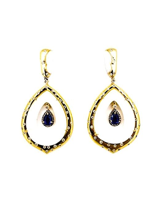 Arthur Marder Fine Jewelry Metallic Silver 3.90 Ct. Tw. Diamond & Sapphire Earrings
