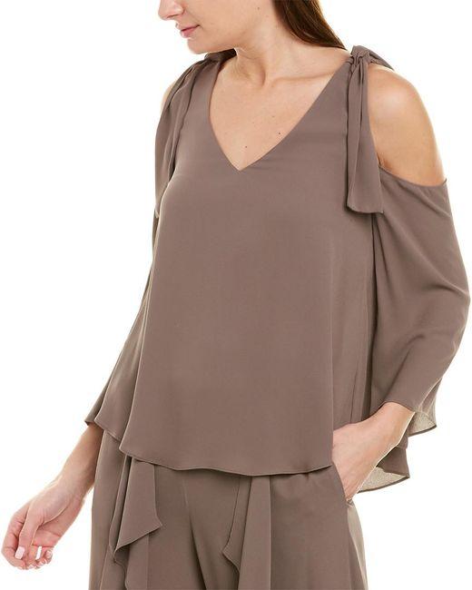 BCBGMAXAZRIA Brown Cold-shoulder Top