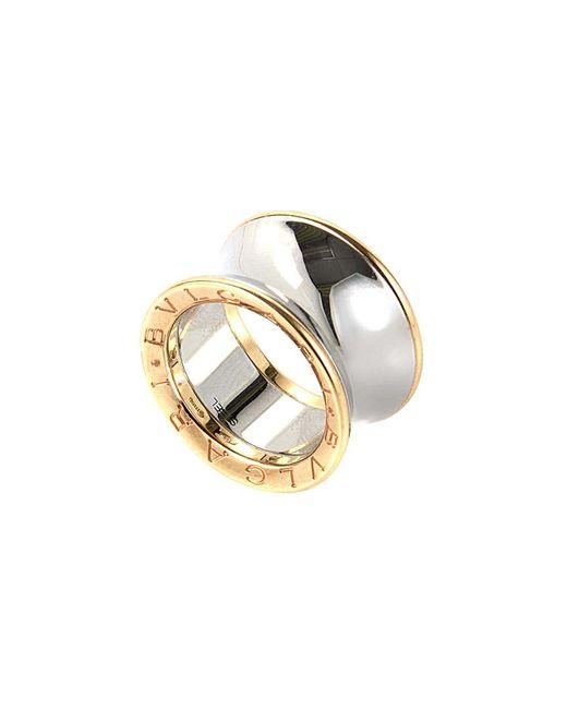 BVLGARI Metallic Bulgari 18k Rose Gold & Stainless Steel Ring