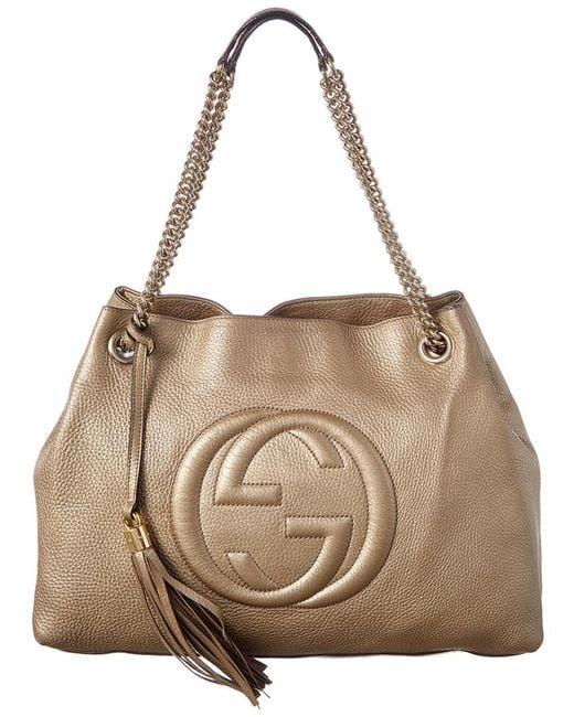 420197c7e94d Gucci - Metallic Gold Leather Chain Soho Bag - Lyst ...