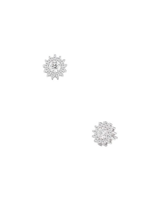 Nephora - Multicolor 14k White Gold & 0.95 Total Ct. Diamond Flower Halo Stud Earrings - Lyst