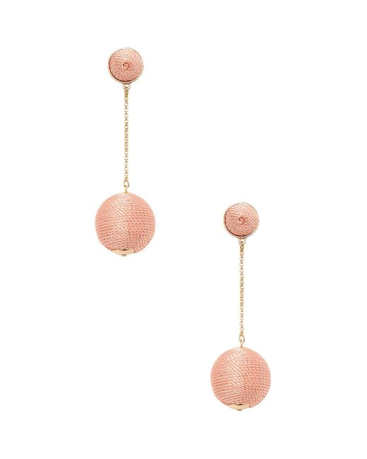 Kenneth Jay Lane - Pink Wrapped Dome Top & Ball Drop Earrings - Lyst