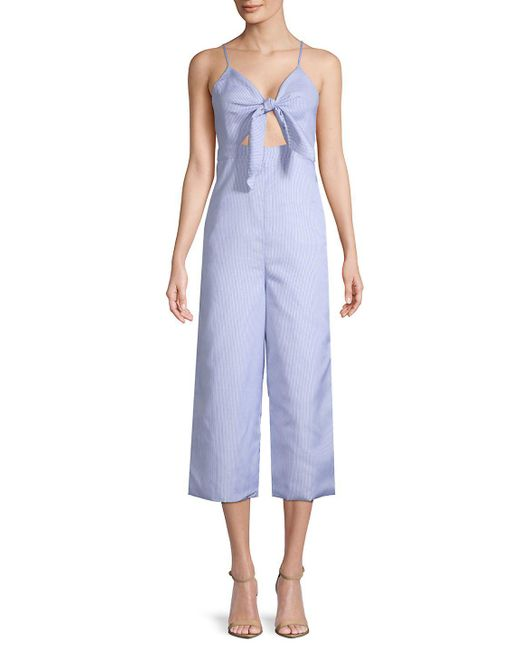 English Factory - Blue Striped Sleeveless Jumpsuit - Lyst
