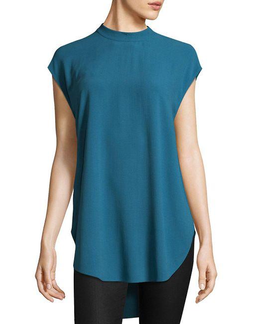Eileen Fisher - Black Silk Georgette Crepe High Neck Tunic - Lyst