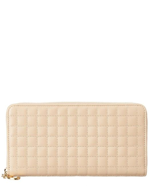 Céline Multicolor Large C Charm Quilted Leather Zip Around Wallet