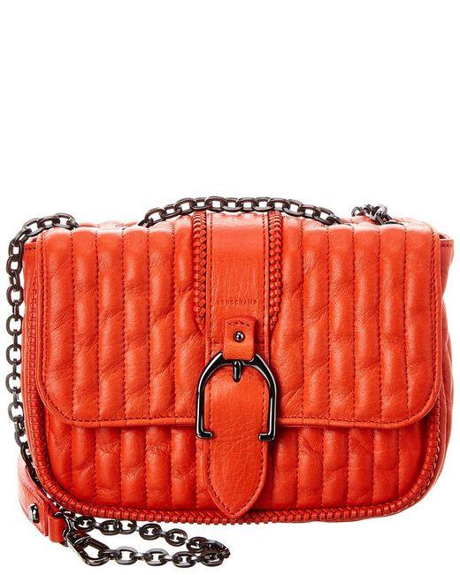 Longchamp Red Amazone Xs Matelasse Leather Shoulder Bag