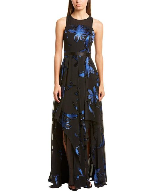 Halston Heritage Black Blossom Burnout Gown