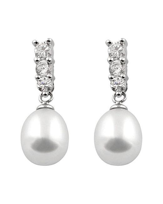 Splendid Metallic Silver 7-8mm Freshwater Pearl Earrings