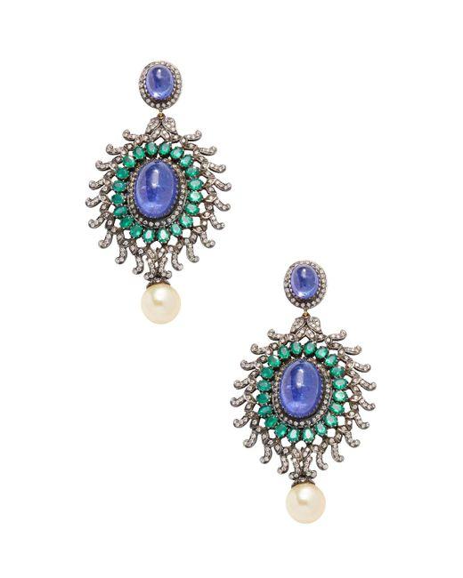 Amrapali - Metallic 18k Gold And Silver Emerald, Tanzanite, Pearl And Diamond Earrings - Lyst