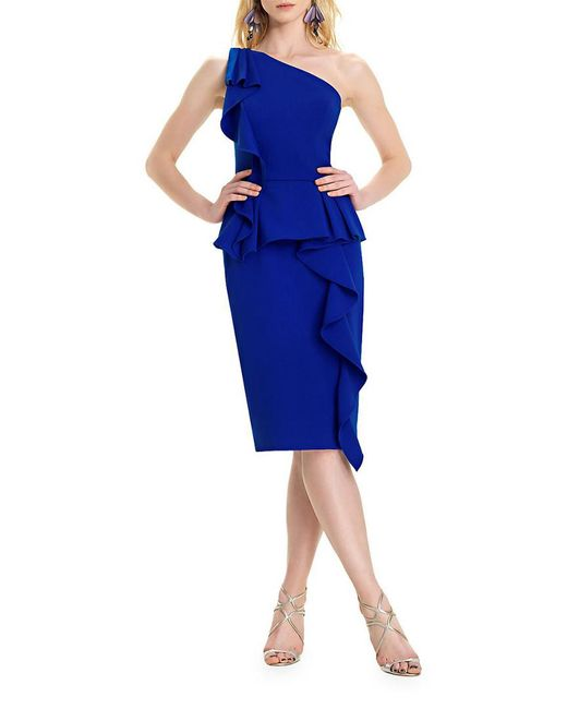 THEIA Blue Ruffled Bodycon Dress