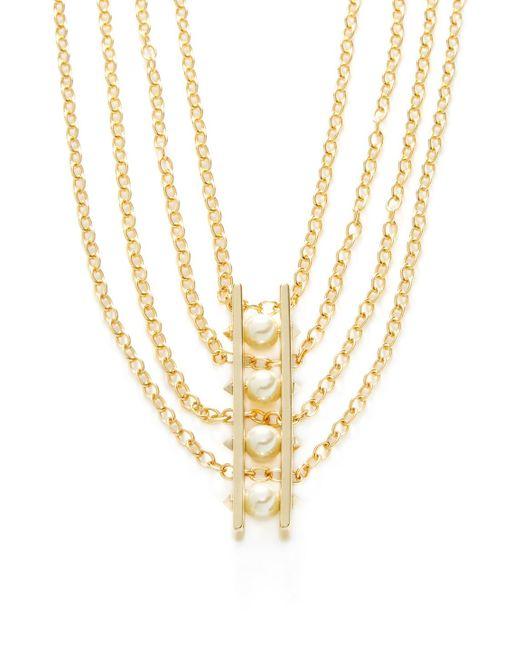 Rebecca Minkoff - Metallic Pearl Statement Necklace - Lyst