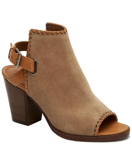 Frye - Natural Dani Shield Whipstitch Suede Heeled Sandal - Lyst