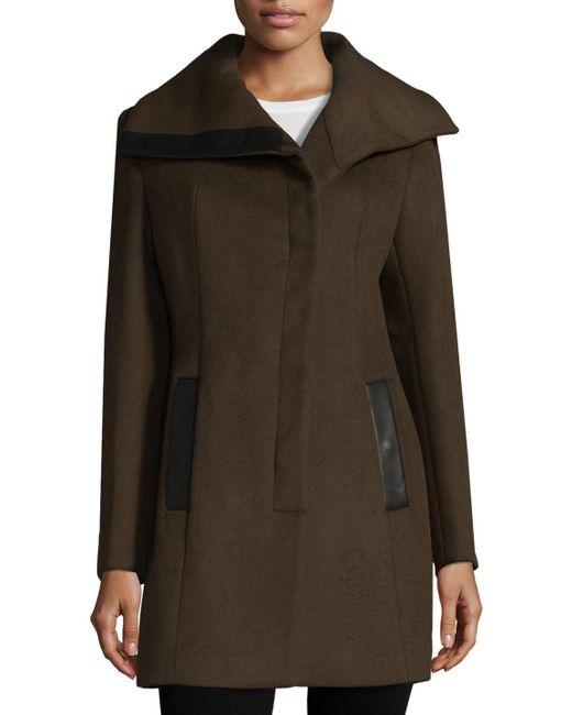 SOIA & KYO - Brown Asymmetrical Wool Blend Coat - Lyst