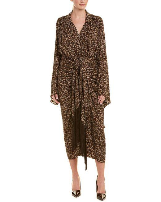 Michael Kors Brown Silk Kimono Dress