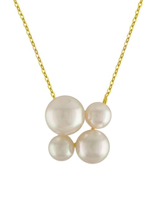 Majorica - 7-10mm White Round Pearl And Goldplated Sterling Silver Pendant Necklace - Lyst