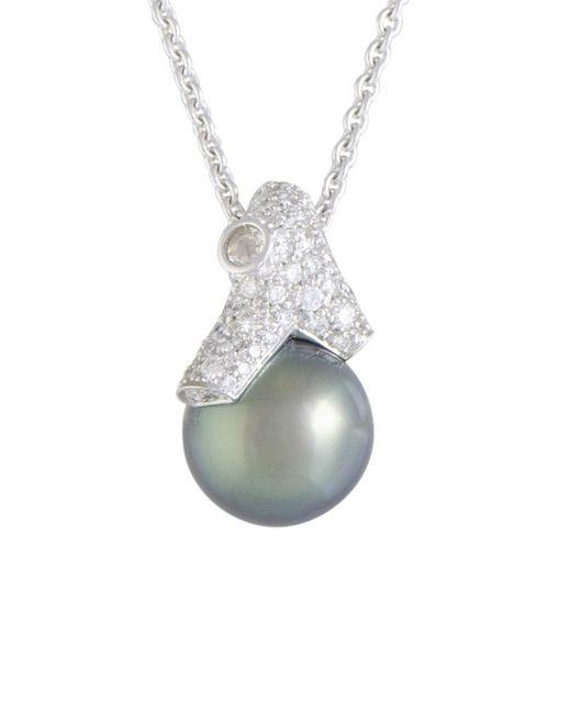 Mikimoto Multicolor 18k 0.97 Ct. Tw. Diamond & 12-13mm Pearl Necklace