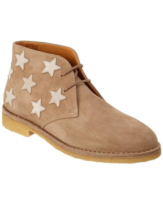 Saint Laurent Natural Desert Star Embroidered Suede Ankle Boot