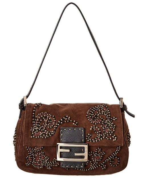 Fendi Brown Embellished Suede Mini Mama Bag