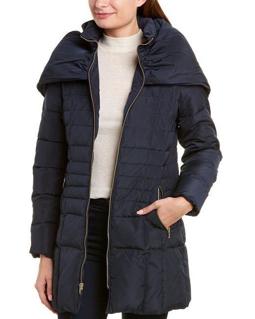 Cole Haan Blue Shawl Hood Down Coat