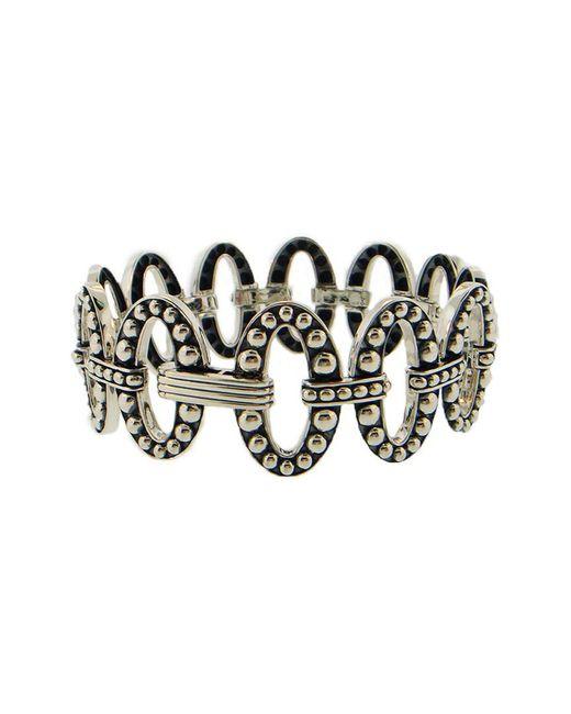 Lagos Metallic Signature Caviar Silver Link Bracelet