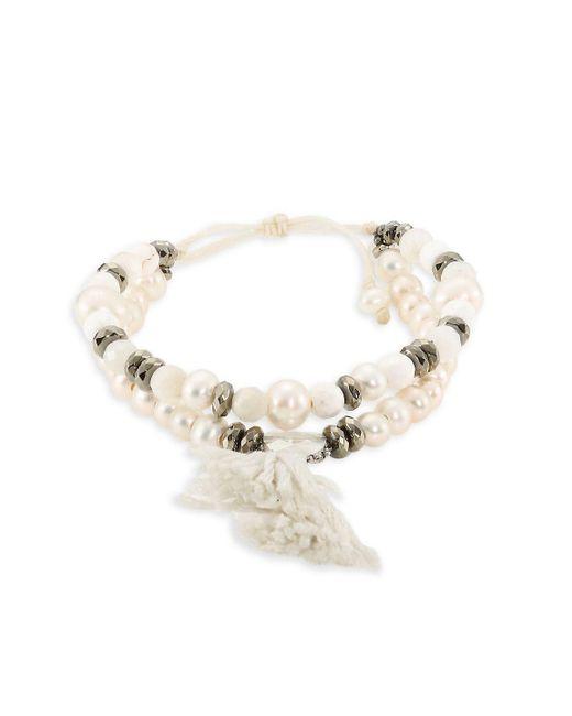 Chan Luu - White Pyrite, Sodalite & Quartz Beaded Drawstring Bracelet - Lyst