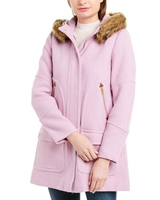 J.Crew Pink Wool-blend Parka
