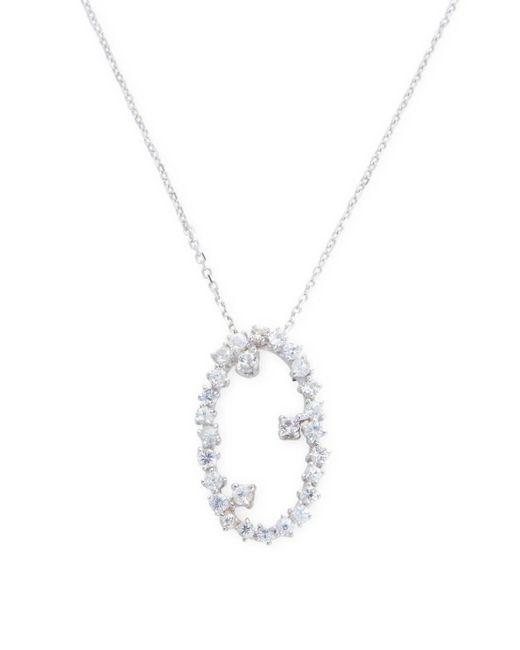 Suzanne Kalan - 0.45 Tcw White Sapphire 14k White Gold Starburst Oval Pendant Necklace - Lyst