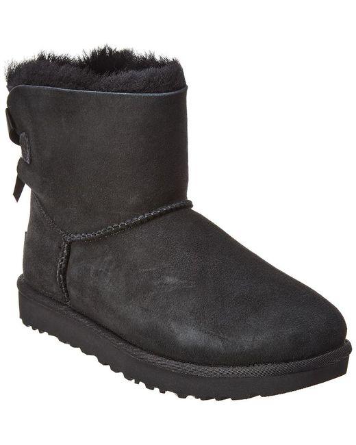 Ugg Black Women's Mini Bailey Bow Ii Water-resistant Suede Boot