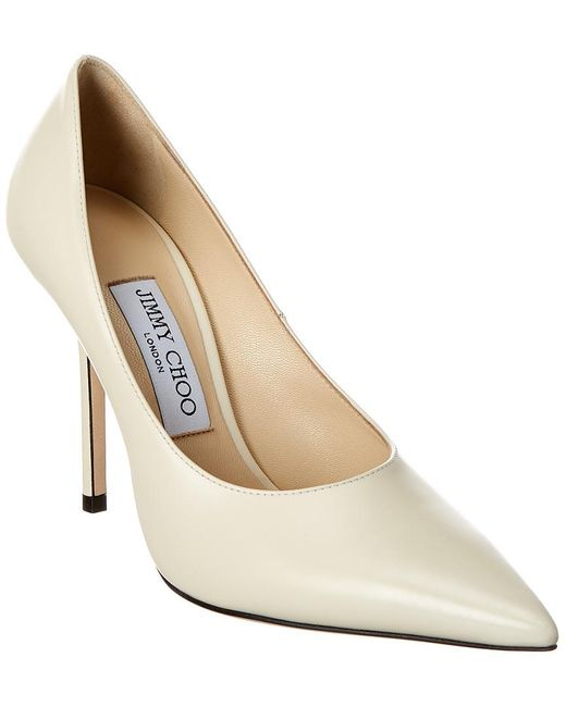 Jimmy Choo Natural Ava 100 Leather Pumps