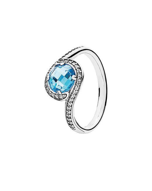 Pandora Metallic Radiant Embellishment Silver Cz Ring