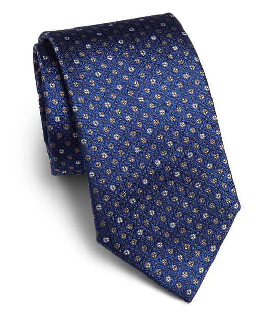 Saks Fifth Avenue Blue Textured Dot Silk Tie for men