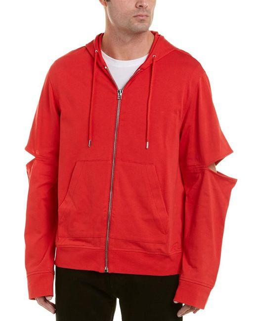 Helmut Lang Red Slit Arm Hoodie for men