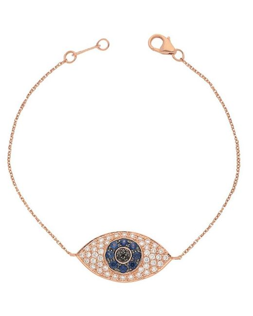 Nephora Metallic 14k Rose Gold 0.86 Ct. Tw. Diamond & Blue Sapphire Evil Eye Bracelet