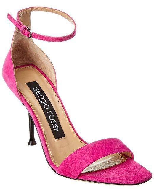 Sergio Rossi Pink Suede Sandal