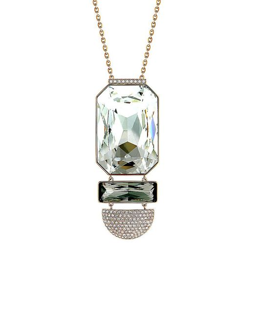 Swarovski Metallic Crystal Rose Gold Plated Stainless Steel Necklace