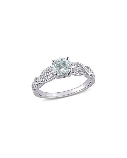 Rina Limor Metallic 14k 0.93 Ct. Tw. Diamond & Aquamarine Ring