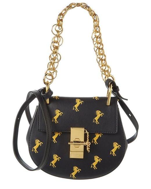 Chloé Blue Drew Bijou Embroidered Horse Mini Leather Shoulder Bag