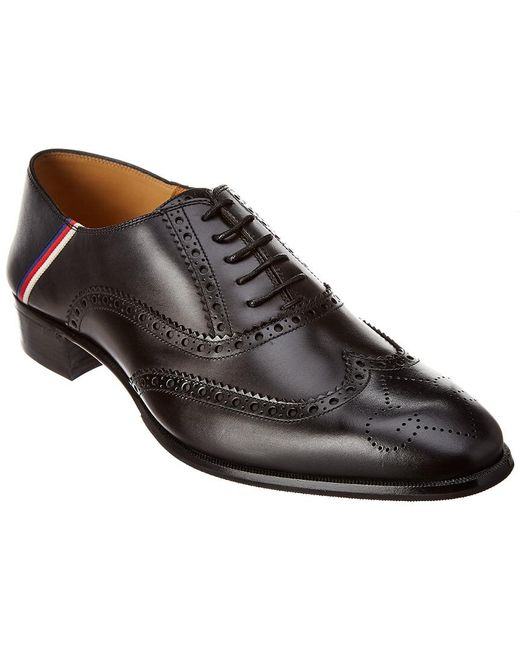 Gucci Black Brogue Leather Oxford for men