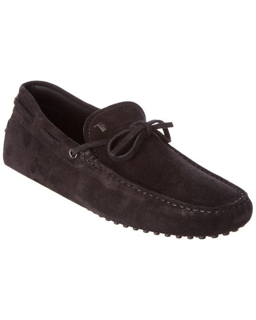 Tod's Black Gommino Suede Driving Shoe for men
