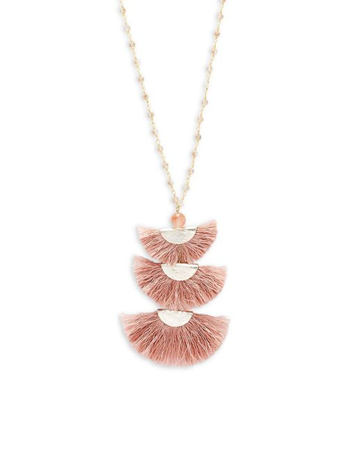 Panacea - Pink Beaded Tassel Pendant Necklace - Lyst